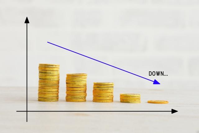 収入などの減少のイメージ